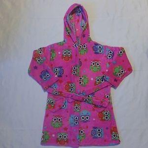Komar Kids Pink Fuzzy Fleece Robe Baby Owls S 7/8